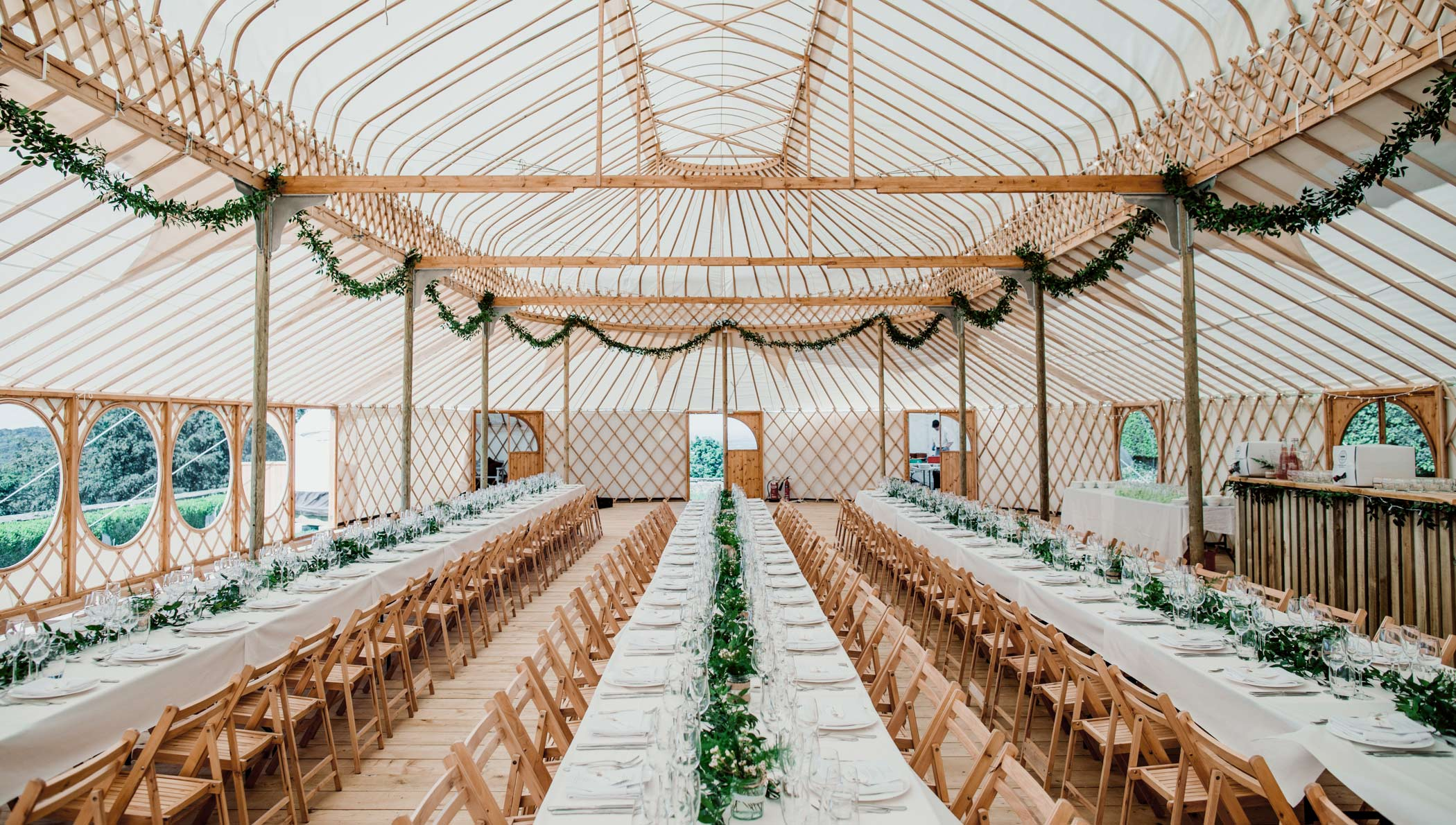 The spectacular Palace Yurt can seat up to 250 reception guests