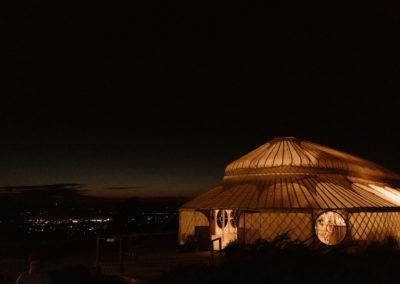 Palace Yurt at night
