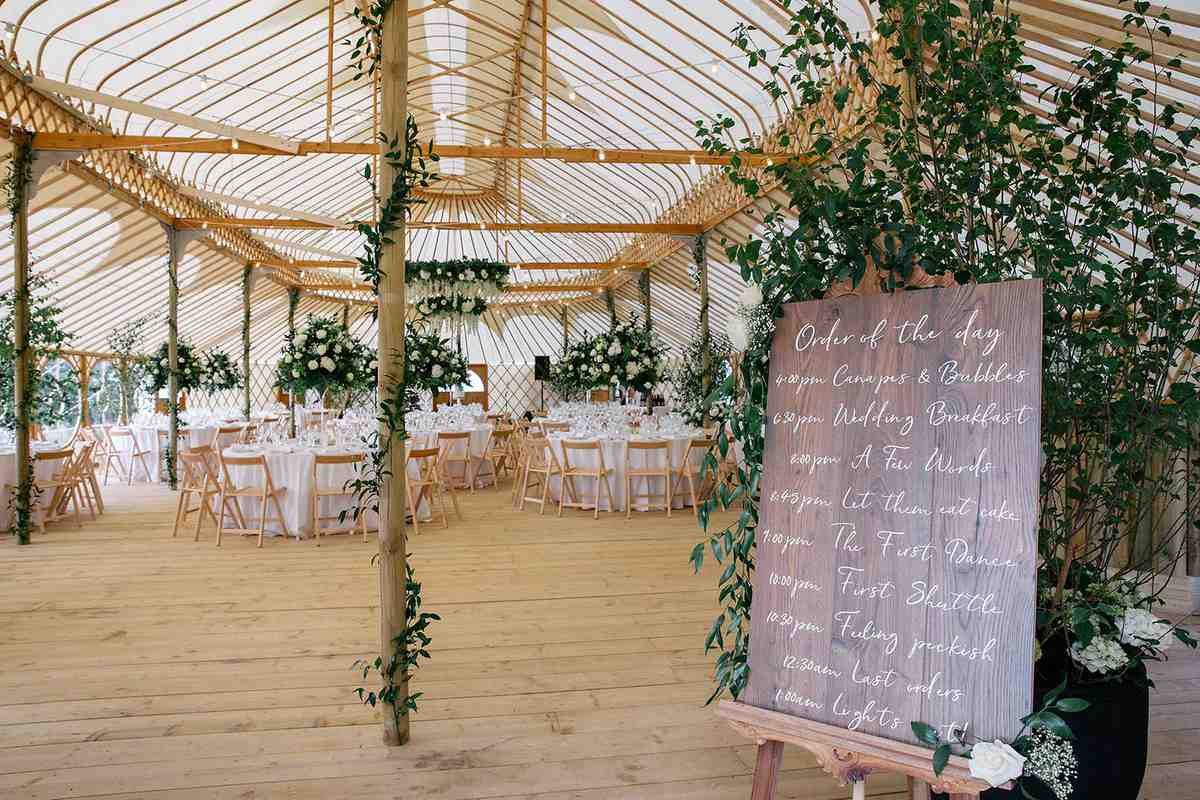 Hilles House Palace Yurt seats 250 wedding reception guests